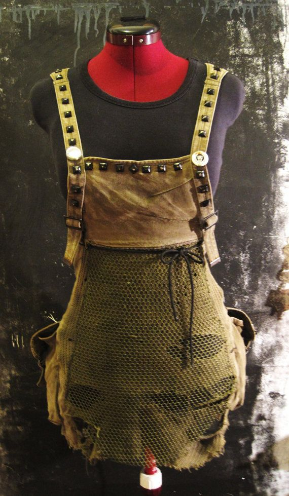 Post-apocalyptic very Short Overall Dress makes with a Bag