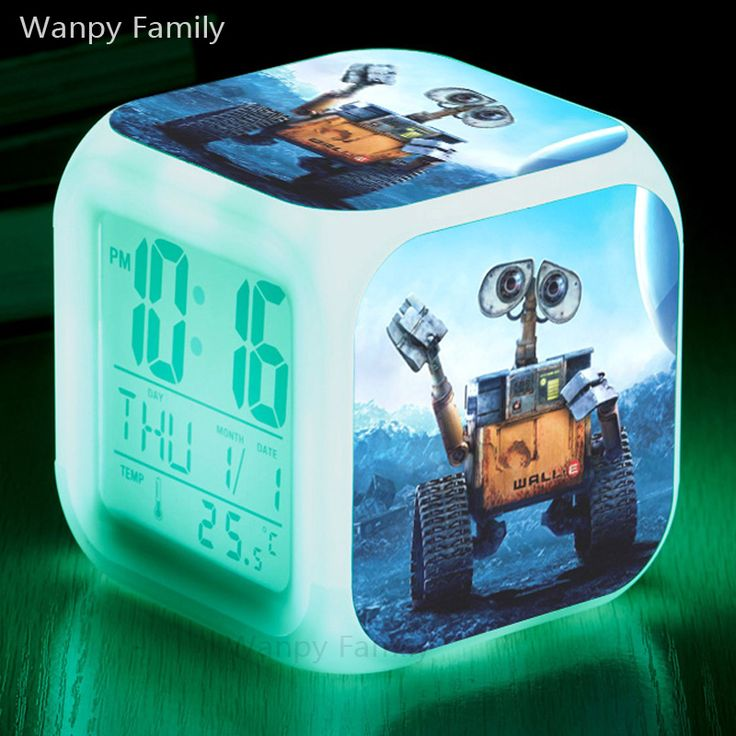 Science Film Robot Wall-E Alarm Clocks,Color changing digital Alarm Clocks For kids Multifunction toys alarm clock