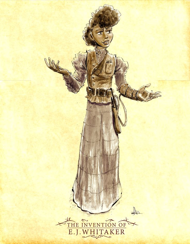 "Character Design of lead character, Ada Turner from the steampunk comic adventure, ""The Invention of E.J. Whitaker."" 19 year old Ada's a Tuskegee University student and closet inventor, who, because of the time and mores of 1901, must invent under a male pseudonym.   