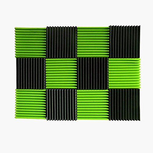 """(12 Pk) 1""""x12""""x12"""" GREEN/CHARCOAL Acoustic Panels Soundproofing Foam Acoustic Tiles Studio Foam Sound Wedges (12T)  Foam panels HIGHEST point reaches 1 inch height. Its LOWEST point reaches 3/4 inch in height. / Overall Noise Reduction Coefficient (NRC): 0.40  Smaller panels offer more options for placement and design / Pack of 12. Covers 12 sq. ft. (Covers 1 sq. ft. per sheet)  Good for Recording Studios, Vocal Booths, Home Theathers  Reduces standing waves and flutter echoes in small..."""