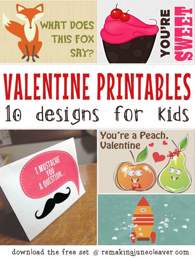 PRINTABLE VALENTINES FOR KIDSFree Valentine, Printable Valentine, Valentine Printables, For Kids, June Cleaver, Valentine Ideas, 10 Design, Free Printables, Printables Valentine'S