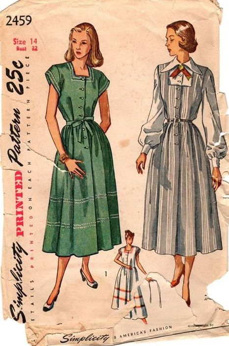 "Simplicity 2459. 1948 Maternity Dress, Jumper & Blouse. Bust 32"". Original. Complete."