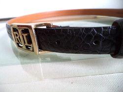 New Listing Started Gorgeous black Ralph Lauren Croc Leather Big Logo Black Pant Medium Small belt C$50.00