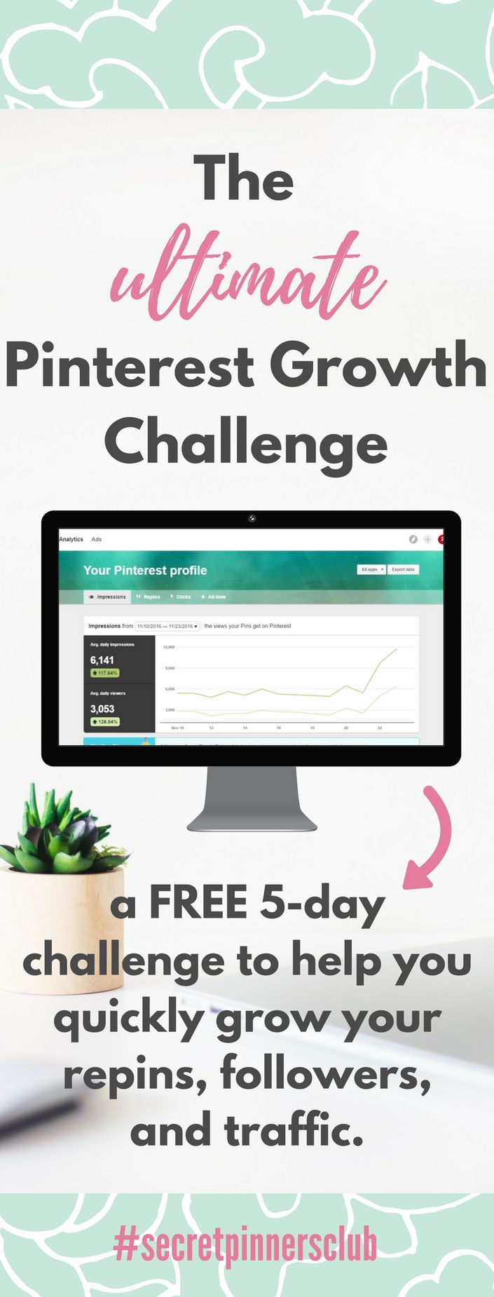 A free 5-day challenge to grow your Pinterest account. This challenge includes 4 video tutorials with 5 different Pinterest strategies for growth. Find out how to use Pinterest with these tips.