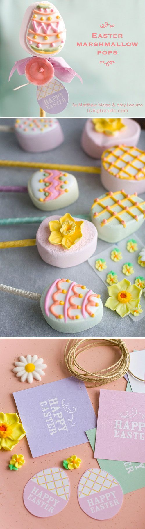 Easter Egg Marshmallow Pops & Free Printables by Amy Locurto and Matthew Mead. LivingLocurto.com
