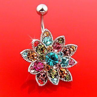 "Genuine Swarovski Crystals Set Flower Belly Ring - 14G - 3/8"" Bar Length - Sold Individually $6.99"