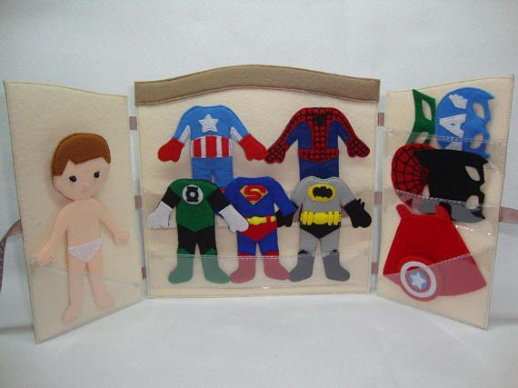 Gift for boy Superheros felt clothes dress up dolls quiet