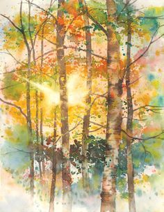 """My goal is to convey the same sense of wonder and beauty that I experienced while on location,"" says Karlyn Holman. View a step-by-step demonstration of her watercolor painting Focus of Light on Fall Trees here. ~Cherie #howtopaint #watercolor #landscape"