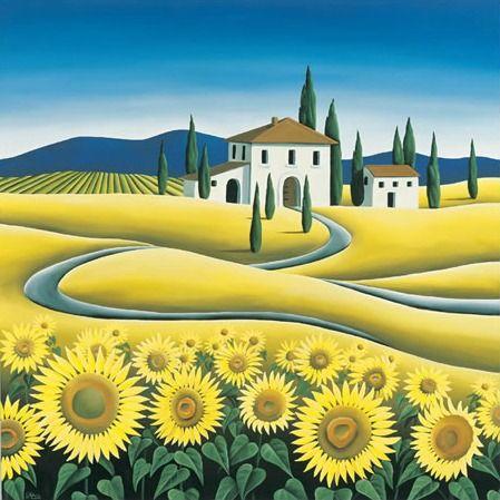 Summer Sunflowers Print by NZ Artist Diana Adams