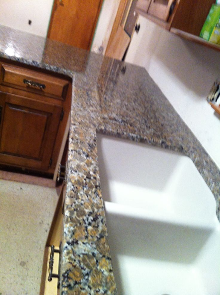Ferro Gold Granite countertop with Granite composite sink ...