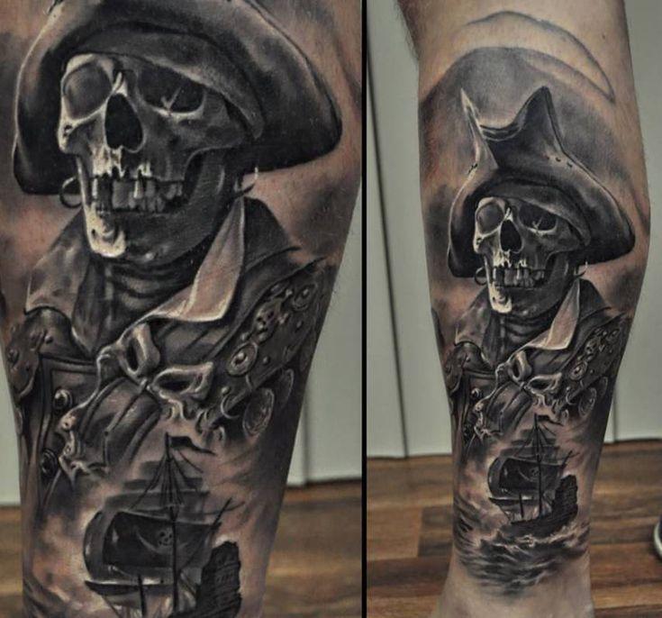 #pirate #tattoos on calf