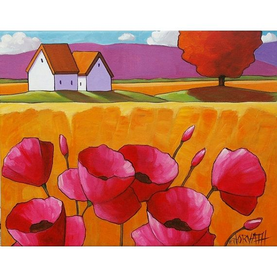 PAINTING ORIGINAL Folk Art Abstract Pink Poppy Flower Blossoms Yellow Grasses Modern Landscape Colorful Contemporary Artwork Horvath 11x14