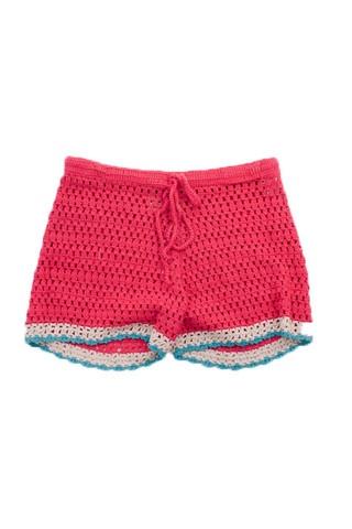 Red Crochet Shorts