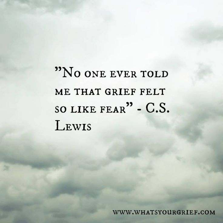 No one ever told me that grief felt so like fear. - C.S. Lewis