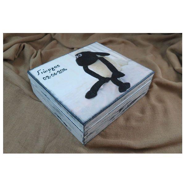 Κουτί για δώρο νονού στο θέμα της βάπτισης με μεταφορά εικόνας και κλασσική παλαίωση! Transfer ana shabby chic style on wooden box!