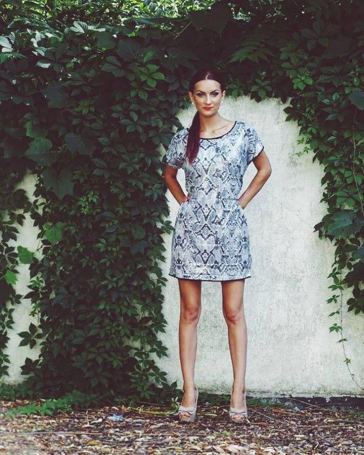 snake print sequin dress