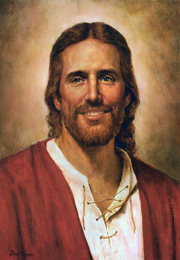 Jesus Christ by Del Parson. This is my favorite image of Christ because it shows him smiling
