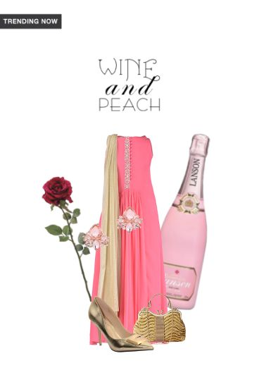 'Wine and Peach' by me on Limeroad featuring Gold Pumps, Solids Pink Dresses with Gold Clutches