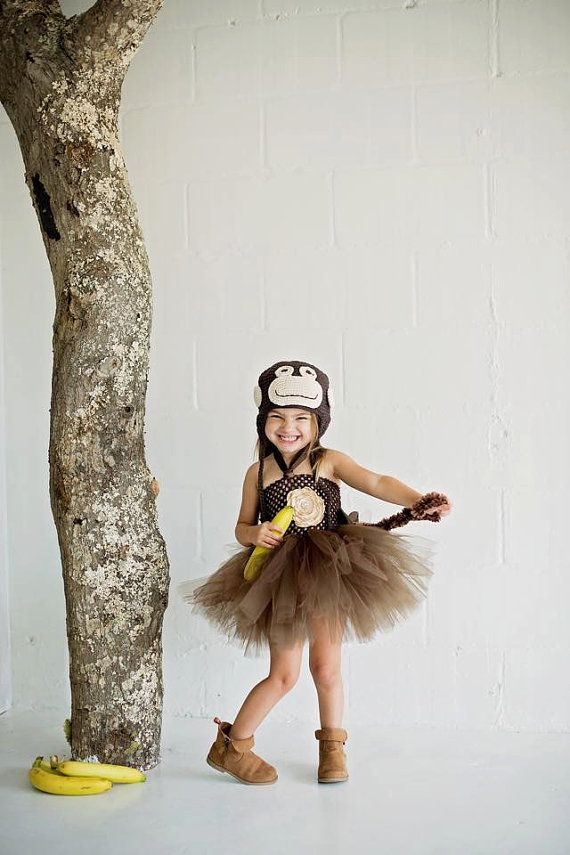 $30 Starting price for FULL OUTFIT!! Monkey Halloween Costume Set Handmade Crochet Hat big Fluffy tutu dress with Burned Satin Flower Belly and Fuzzy Tail. Baby to big Girls Halloween Costume. Zoo Animal costume, Circus Costume, Chimp Costume, Curious George Handmade Halloween Costume,
