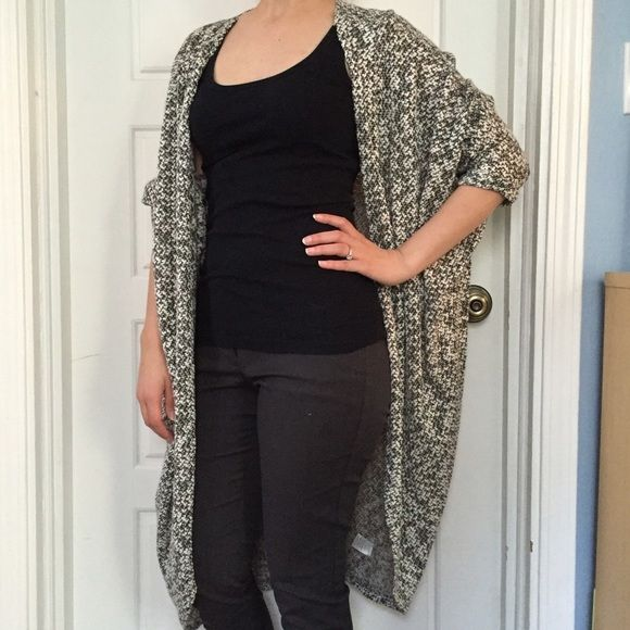 Cozy, sexy, cool. Full length drape cardigan. This look is SO.HOT.RIGHT.NOW! Full length draped cardigan with multi-tone weaved fabric for versatile styling. Francesca's Collections Sweaters Cardigans