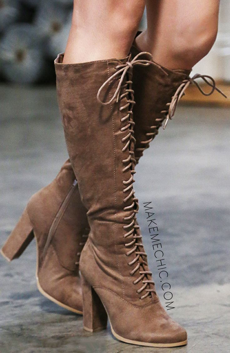 """It's way too cold to go bare legged! These lace up heeled knee boots make me want winter all the time! Featuring an almond toe, vegan suede upper, and lace up front. Finished off with a 4.25"""" chunky heel, full side zipper, and a slightly padded insole for added comfort. Paired with your favorite sweater- you'll be nothing short of stunning! #laceupboots 