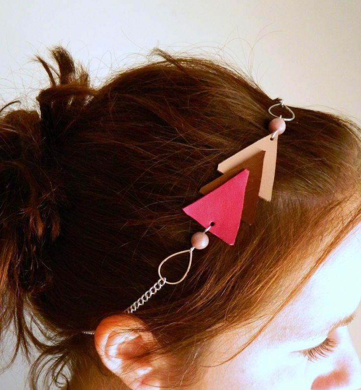 Headband en cuir et pierre minérale modèle triangle rose et métal argenté : Accessoires coiffure par azantymariage