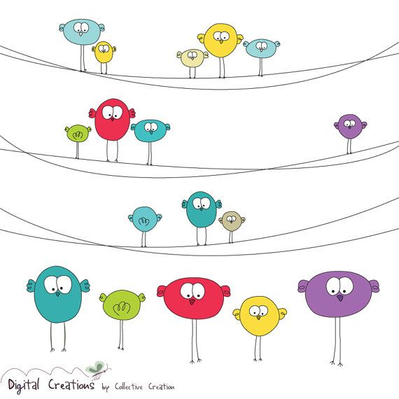 Cute Birds on Wire Digital Clip Art Set 2  by CollectiveCreation, $4.00