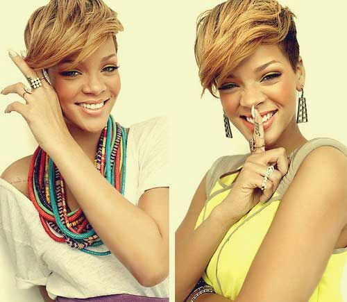 Rihanna.  I LOVE the heavy bangs and this style. My next appointment...