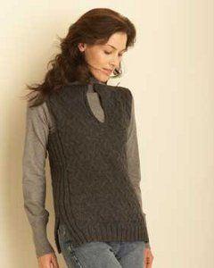 Black Smoke Cable Knit Vest | AllFreeKnitting.com