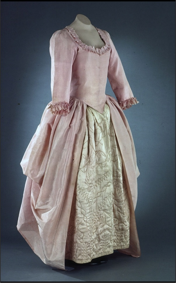 Gown, pink-lavender lustring polonaise 1770-1785. Colonial Williamsburg.  Just…