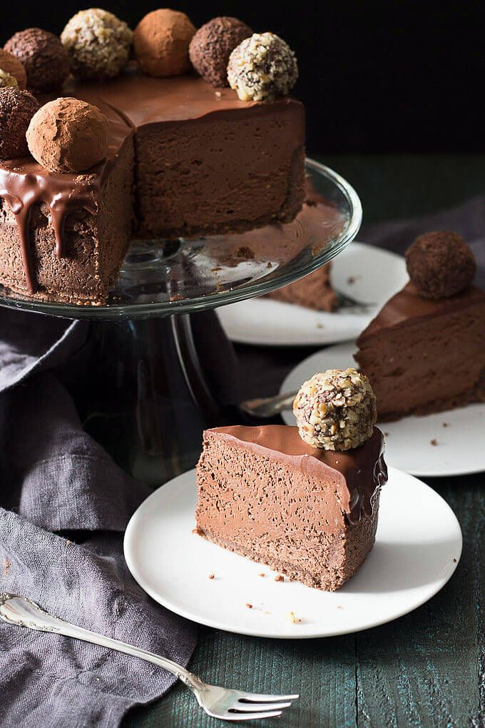 A low carb chocolate cheesecake with sugar free chocolate truffles and low carb ganache. Gluten free