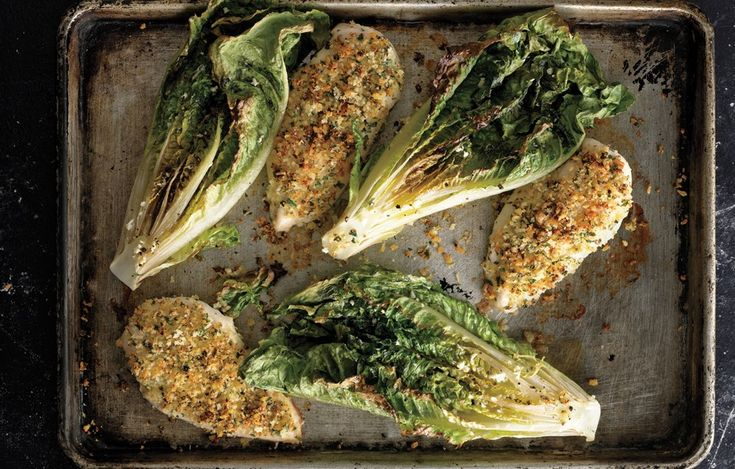 Parmesan Chicken with Caesar Roasted Romaine - Bon Appétit