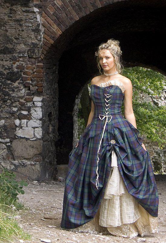 Bella, Special Weave Silks Tartan Wedding Dress