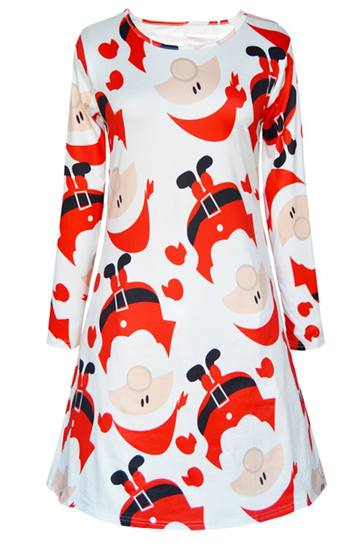 $13.09 Long Sleeve Santa Print Christmas Swing Dress