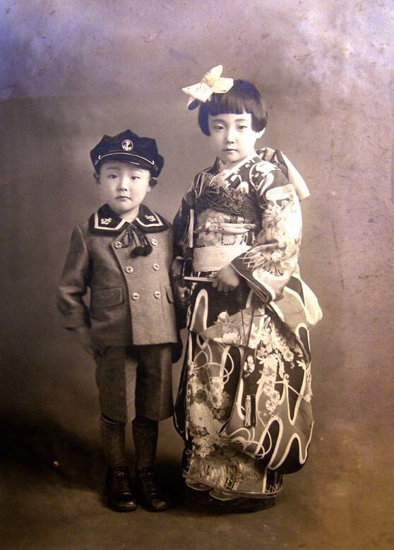 Brother and sister together for Shichi-go-san studio photo, Japan - 1930s