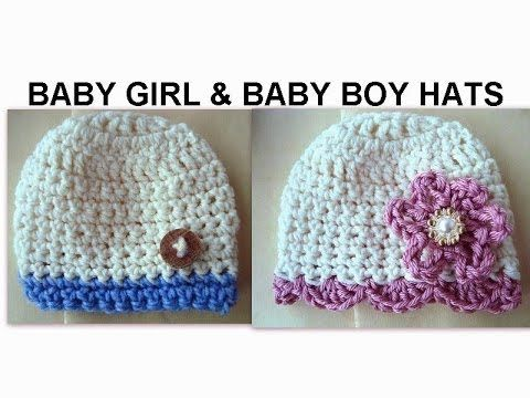 ▶ BABY GIRL AND BABY BOY CROCHET HATS, how to diy - YouTube