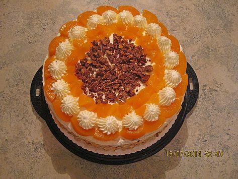 Schokocrossies - Torte mit Pfirsichen, ein raffiniertes Rezept aus der Kategorie...