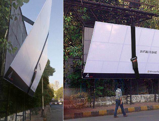 Ein angeschnalltes Billboard wirbt für den Sicherheitsgurt