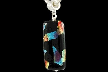 dichroic black glass with multicoloured silver foils. Lenght mm. 35.