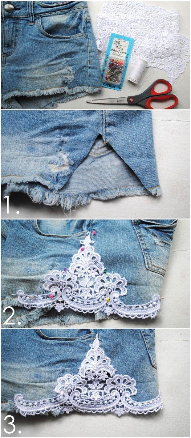 Faça Você Mesmo - Conserte um shorts jeans velho e rasgadado usando renda