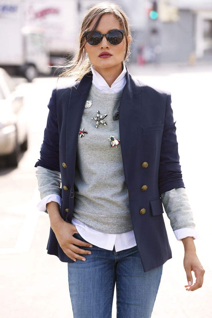 Trending Fashion | Women's Navy Blue Nautical Double-Breasted Jacket by Boston Proper.