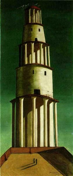 The Great Tower, 1913 by Giorgio de Chirico. Metaphysical art. cityscape. Kunstsammlung Nordrhein-Westfalen, Düsseldorf, Germany