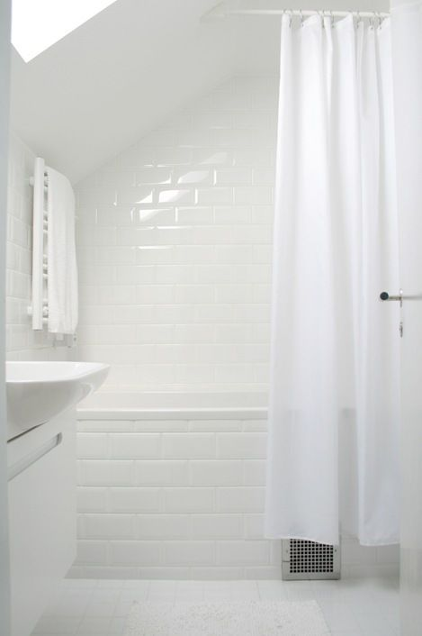 Kids bathroom will have a sloped wall... answer to the curtain question here!