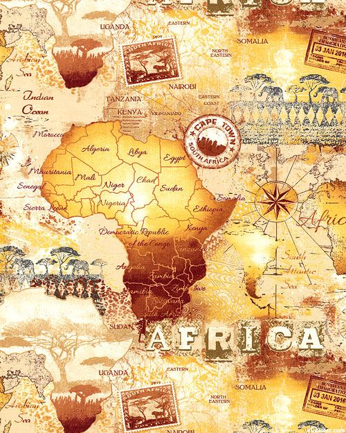 Wild African Map Quilt Fabrics from