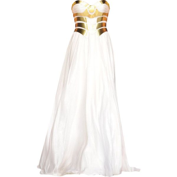 Walid Atallah - edited by Satinee featuring polyvore women's fashion clothing dresses gowns vestidos long dresses long white dress white ball gowns white gown white evening gowns