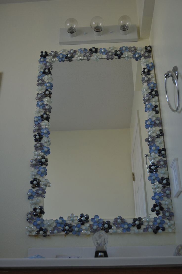 Glass gems with pearl marble centers to dress up a for Mirror on mirror decorating for bathroom
