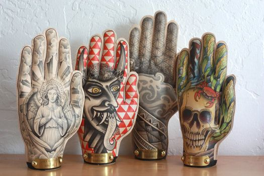 hands: fill latex gloves with plaster and paint. Fan-freaking-tastic