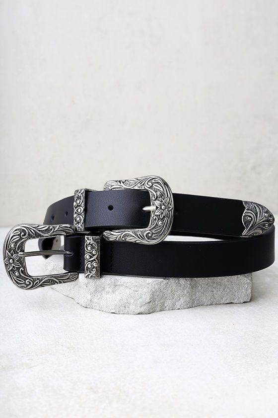 """The Lovestrength Scarlet Black and Silver Leather Double Buckle Belt is breaking hearts left and right! This genuine leather belt is finished with antiqued silver belt buckles, with swirling engraved accents. Seven hole adjustments. Small measures 32"""" long."""