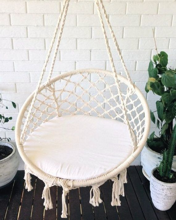 Crochet Hanging Chair Bohemian Boho Chic Rustic By