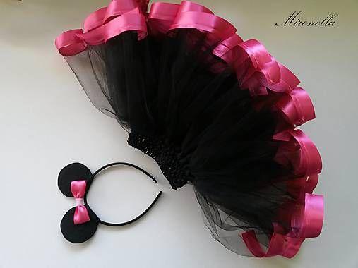 mironella / Minnie Mouse - tylová suknička so stužkami